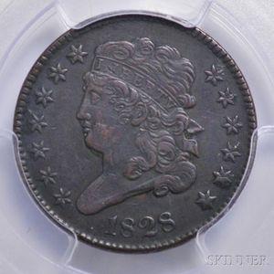 1828 Classic Head Thirteen Star Half Cent