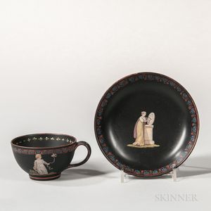 Wedgwood Black Basalt Encaustic Decorated Cup and Saucer