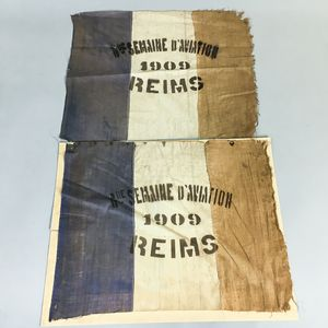 Two Reims Linen Aviation Meet Flags.