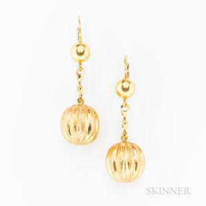 Pair of 18kt Gold Earrings