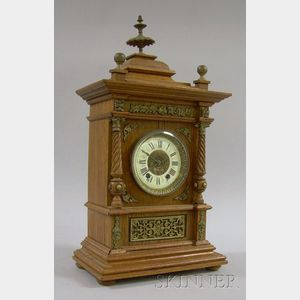 Victorian Oak Mantel Clock