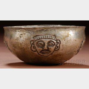 Pre-Columbian Embossed Silver Bowl