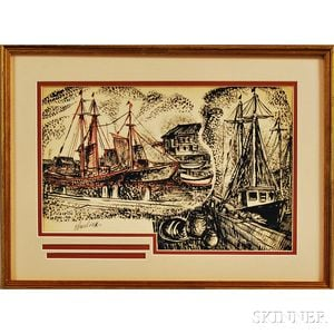David Burliuk (American, 1882-1967)      Harbor