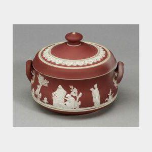 Wedgwood Crimson Jasper Dip Sugar Bowl and Cover