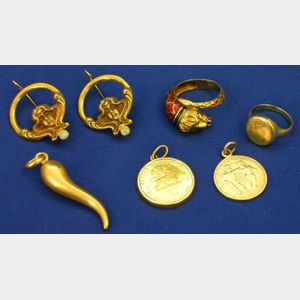 Pair of Gold Art Nouveau Style Earrings, Two Rings, and Three Pendants.