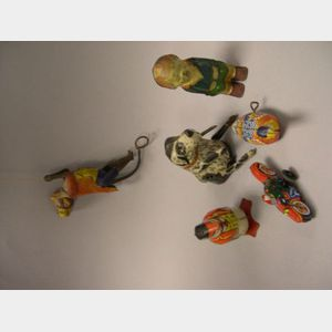 Six Lithographed Mechanical Tin Toys