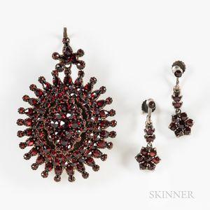 Antique Garnet Locket and Earrings