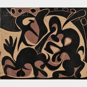 Sold for: $35,550 - Pablo Picasso (Spanish, 1881-1973)      Pique (Noir et beige)