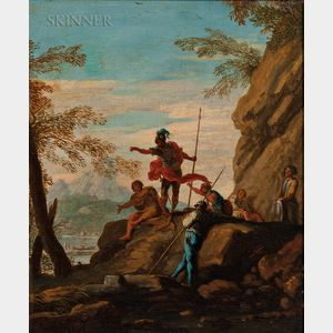 School of Salvator Rosa (Italian, 1615-1673)      Figures on a Rocky Ledge