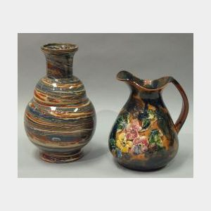 Aller Vale Polychrome Swirl Vase and a Longpark Applied Roses and Sponge Decorated   Jug.