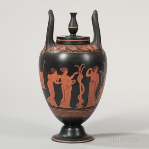 Wedgwood Encaustic Decorated Black Basalt Hydria Vase and Cover