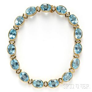 18kt Gold, Topaz, and Diamond Necklace, Tambetti