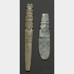 Two Pre-Columbian Carved Jade Pendants