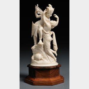 Ivory Carving with Wood Stand