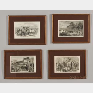 Four Framed Harper's Weekly   Pages