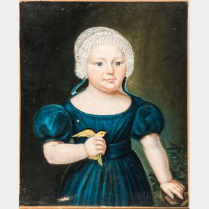 American School, 19th Century    Portrait of a Girl in Blue Dress Holding a Canary