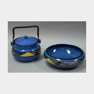 Watcombe Art Deco Low Bowl and Biscuit Jar.