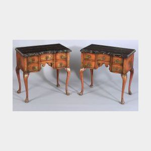 Pair of William and Mary Style Red Japanned Black Marble-top Lowboys