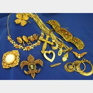 Small Group of Gold-tone Costume Jewelry.
