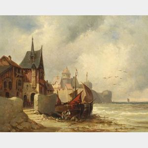 Northern School, 19th Century    Figures and Beached Boats, a Village in the Distance