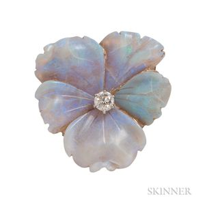 Antique 18kt Gold, Carved Opal Pansy, and Diamond Brooch, Tiffany & Co.