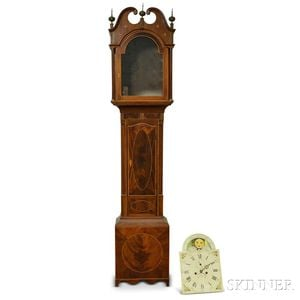 Mahogany Inlaid New Jersey Tall Clock Case and Associated Dial