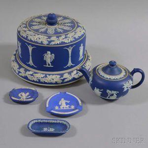 Five Pieces of Blue Jasperware