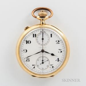 Split-second Chronograph 18kt Gold Open-face Watch
