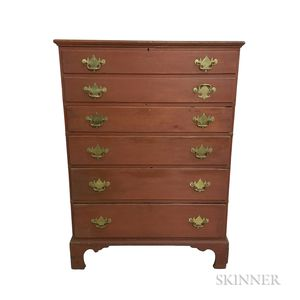 Queen Anne Red-painted Pine Four-drawer Blanket Chest