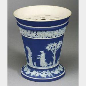 Wedgwood Dark Blue Jasper Dip Potpourri Vase and Lid
