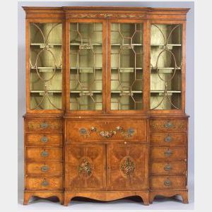 Fine George III Style/Edwardian Painted Satinwood Breakfront Bookcase