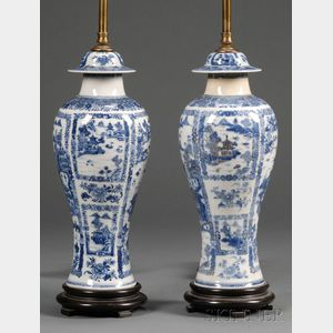 Pair of Chinese Export Porcelain Garniture Vases Mounted as Lamps