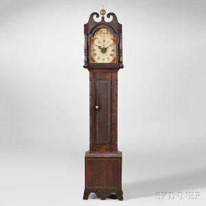 Grain-painted William Leavenworth Wood Movement Tall Clock with Alarm