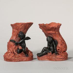 Pair of Rosso Antico and Black Basalt Figural Vases