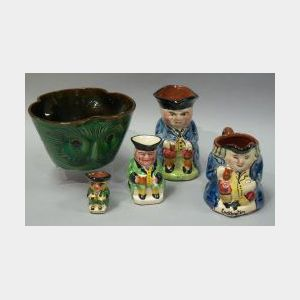 Watcombe Iridescent Green Glazed Modeled and Sgraffito Owl Bowl, and Toby Jug, and   Three Torquay Pottery Toby Jugs