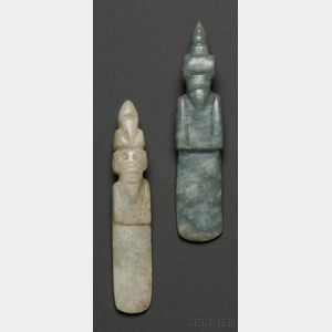 Two Pre-Columbian Carved Jade Bird Pendants