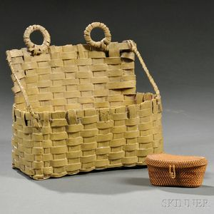 Miniature Woven Splint Covered Basket and a Mustard-painted Wall Basket