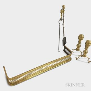 Pair of Brass Ring-turned Andirons, Tongs, Shovel, and Fender.