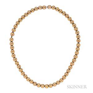 Antique 14kt Gold Bead Necklace