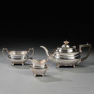 Three-piece George V Sterling Silver Tea Service