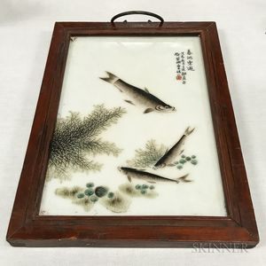 Framed Chinese Porcelain Plaque Depicting Fish