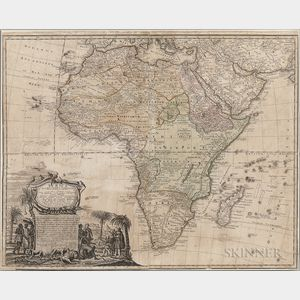 1737 Homann Map of Africa and Colored Engraving Vue de la Cote Depuis Mina  .