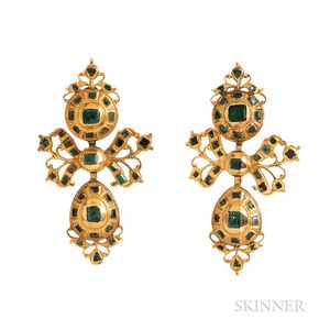 Antique Gold and Emerald Pendeloque Earrings