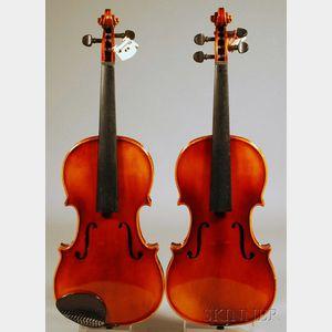 Two Child's Modern Violins, Anton Schroetter, Mittenwald, c. 1975
