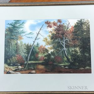 Framed Watercolor on Paper Landscape of Woodlands