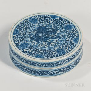 Blue and White Covered Box
