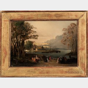 European School, 19th Century      Elegant Figures Gathered by a River in Autumn