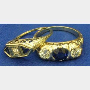 Two Edwardian Sapphire and Diamond Rings.