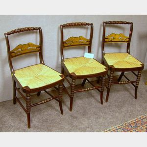 Set of Six Painted and Decorated Eagle-splat Fancy Chairs with Woven Rush Seats.