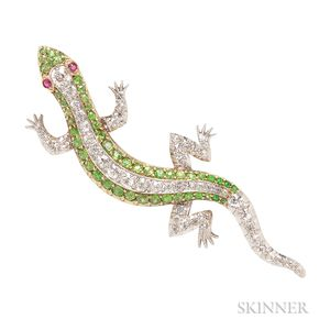 Diamond and Demantoid Garnet Lizard Brooch
